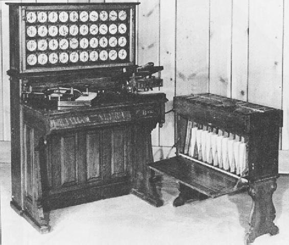 Máquina tabuladora. Creada por Herman Ohllerith