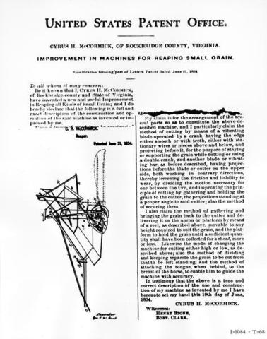 Patent for The Reaper to McCormick