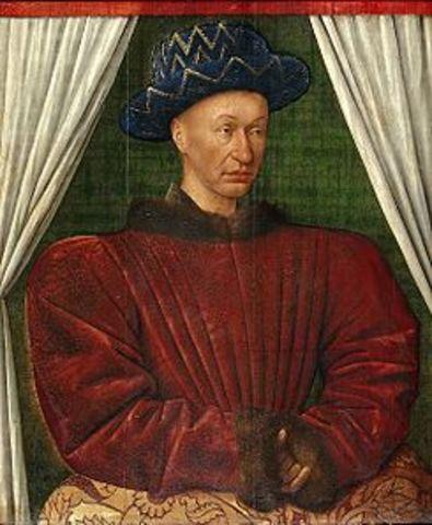 carlos VII , rey de francia fue coronado publicamante