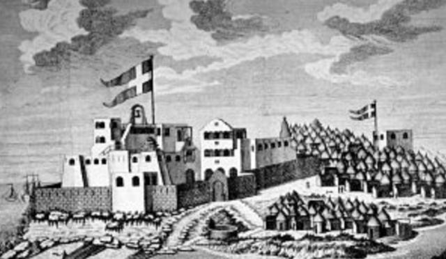 Danmark-norge grundlagde en række forter langs Afrikas vestkyst