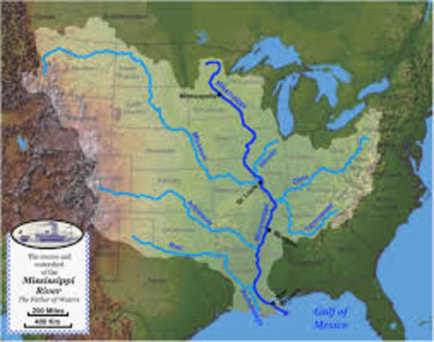 LaSalle claimed the Mississippi River Valley for France