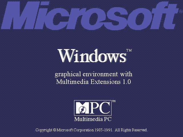 1991 Microsoft Windows 3.0 o Windows 3.0a con multimedia