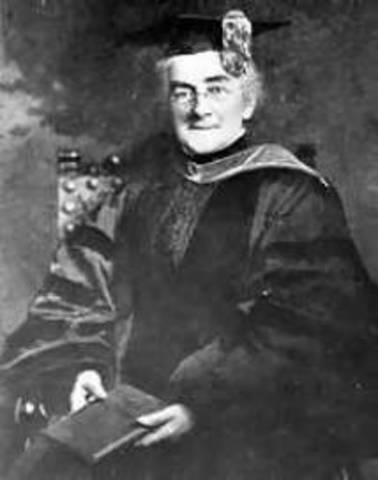 Ellen Richards receives her second Bachelor of Science degree from MIT, the first woman to do so. She also received a Master's Degree from Vassar on the basis of a thesis she submitted on the chemical analysis of iron ore.