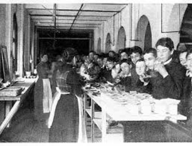 American Public-School Lunch. Ellen Richards and Edward Atkinson started them in Boston high schools. They did it as a private enterprise.