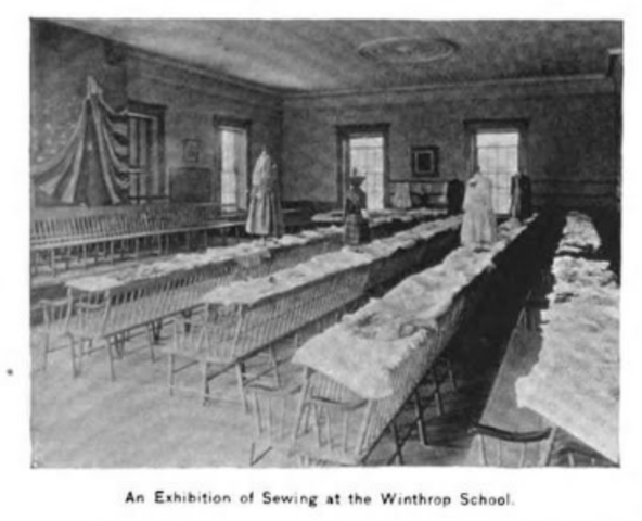 Winthrop School in Boston appointed the first sewing teacher.