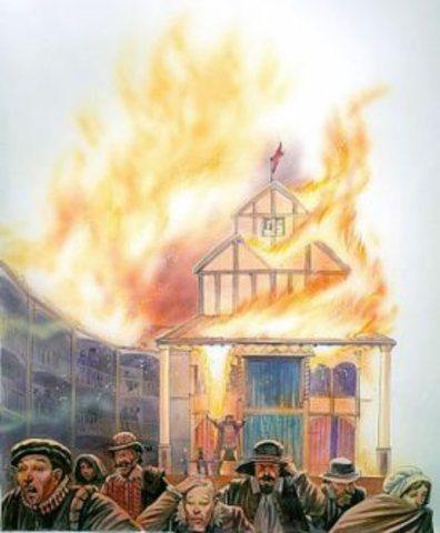 Globe theatre burns to the ground