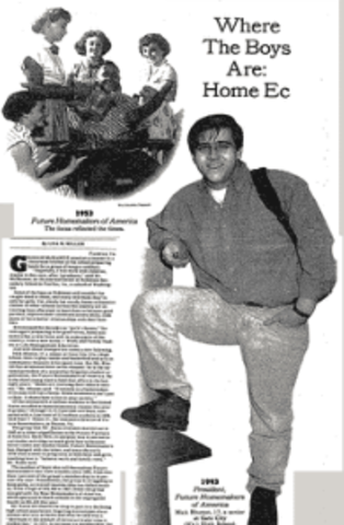 "New York Times Article ""Where the Boys Are: Home Ec"" was printed, promoting home economics for men."
