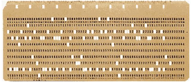 creación de tarjetas perforadas para entrar los datos y los programas.