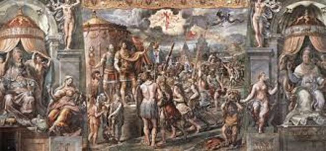 Battle of Milvian Bridge; Constantine converts to Christianity