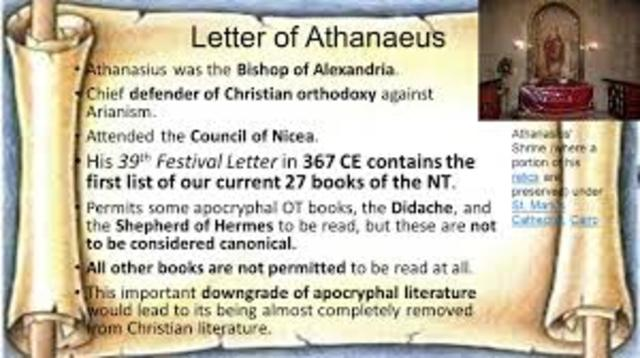 Athanasius lists all 27 books of the New Testament