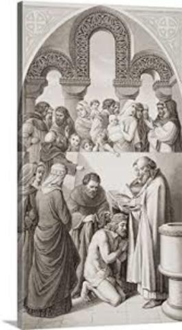 St. Augustine of Canterbury baptizes King Ethelbert of Kent