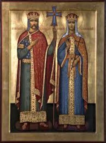 Olga of Russia converts to Christianity