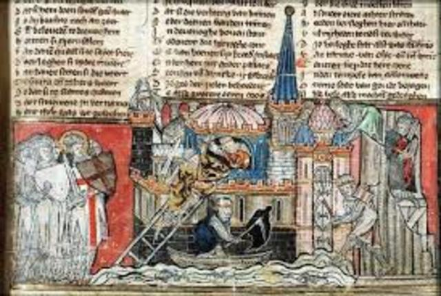 Christian soldiers capture Jerusalem during the First Crusade. The city had been held by Islamic rulers since 655.