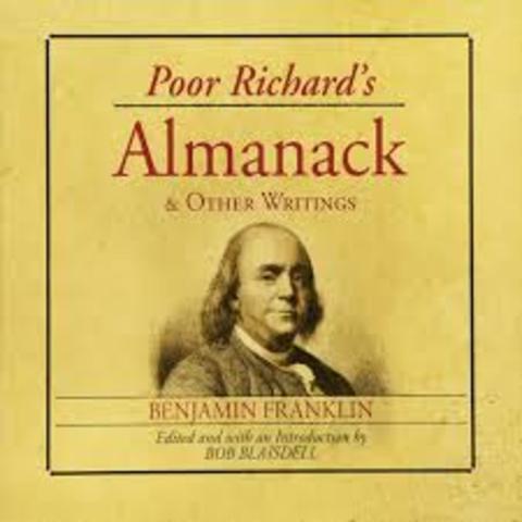 Benjamin Franklin published Poor Richard's Almanack