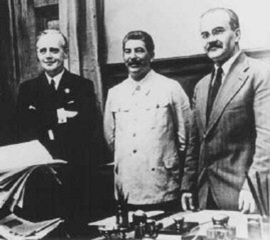 Pacte Molotov-Ribbentrop (germano-soviétique) le 23 août 1939
