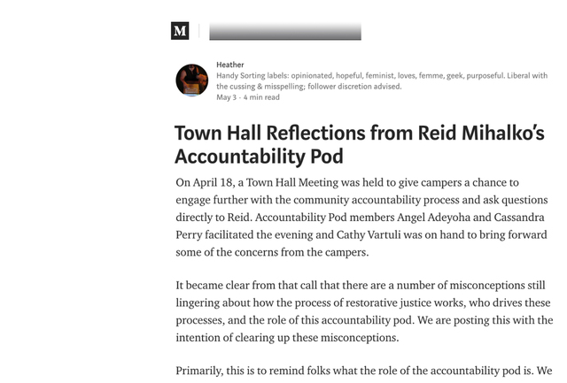 """Reid's Pod Publishes Their 2nd Update - """"Town Hall Reflections from Reid Mihalko's Accountability Pod"""""""