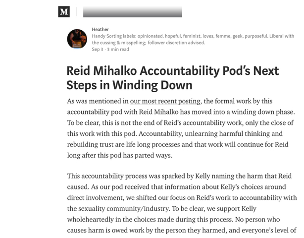 "Reid's Pod Publishes 4th Update - ""Reid Mihalko Accountability pod's Next Steps in Winding Down"""