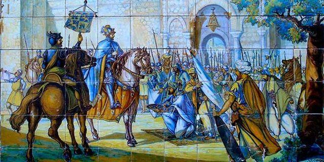 Conquista de Toledo por Alfonso VI (frontera en el río Tajo).