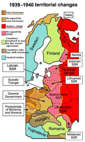 Territoires annexés par l'URSS pendant la guerre