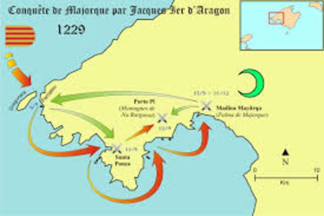 """Jaime III """"el conquistador"""" invade las Islas Baleares y el Reino de Valencia."""