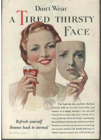 Publicidad: Coca-Cola vs. La Gran Depresión, medios impresos