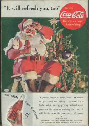 Publicidad: Santa Claus x Coca-Cola, medios impresos