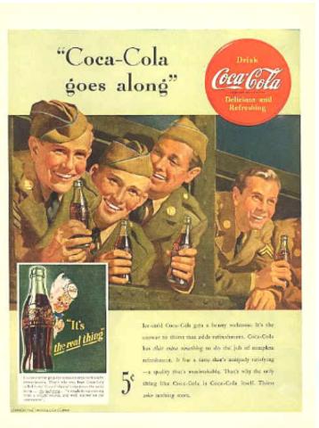 Publicidad: Coca-Cola vs. Segunda Guerra Mundial, medios impresos