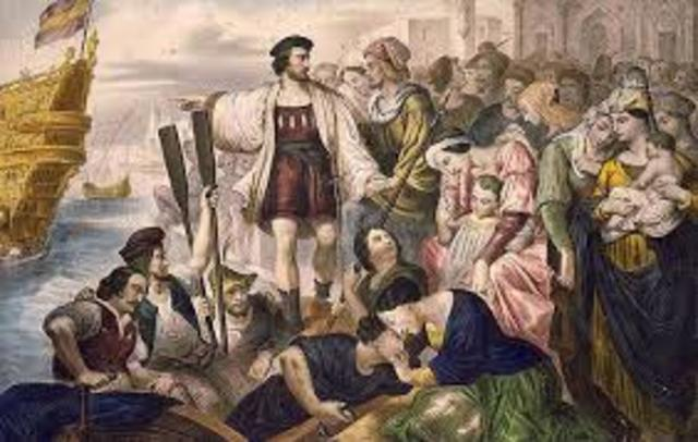 Columbus sailed out of a spanish port and sailed towards the New World.