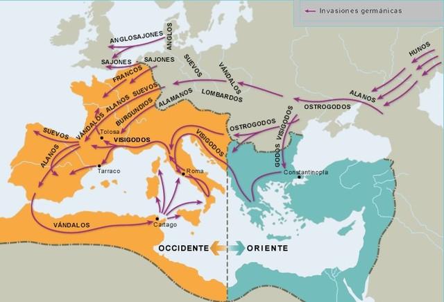 Pueblos germánicos penetran en la Península