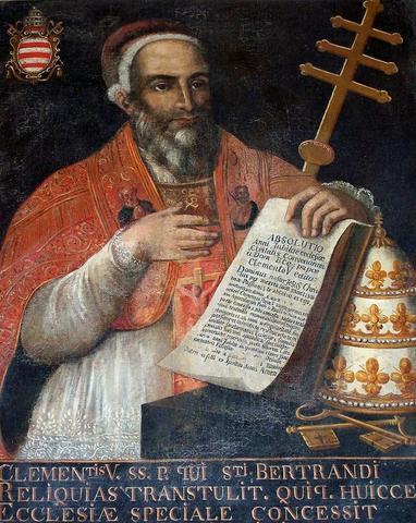 El papa Clemente V traslada la sede papal de Roma hacia Aviñón