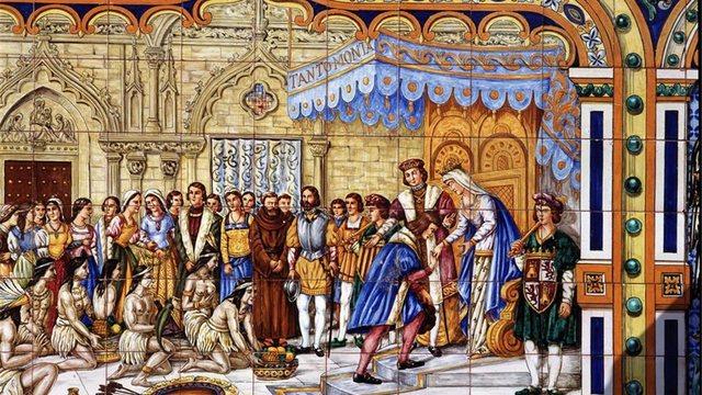 Los Reyes Católicos Recibieron a Cristóbal Colón