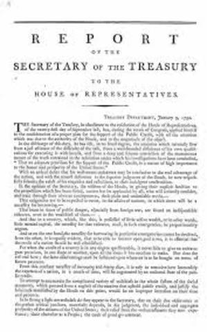 Hamiliton's First Report on Public Credit