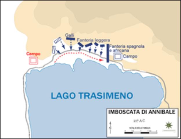 Annibale sconfigge i Romani sul Trasimeno