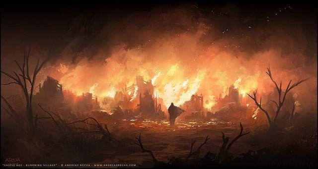 The burning of the Elven city, Mylatheas