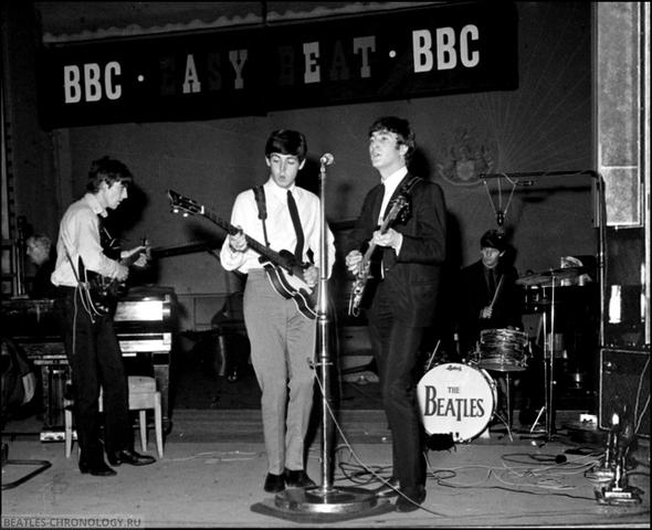 Трансляция выступление The Beatles по спутниковому телевидению