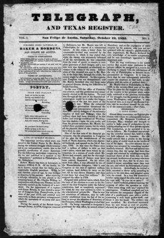 1st issue of Telegraph and Texas Register