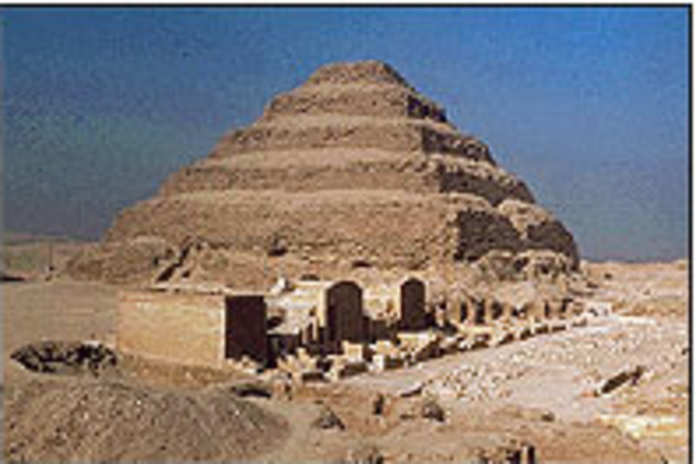 Imhotep builds the first step pyramid for Djoser in Sakkara.