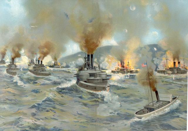 U.S. fleet destroys Spanish in Santiago, Cuba