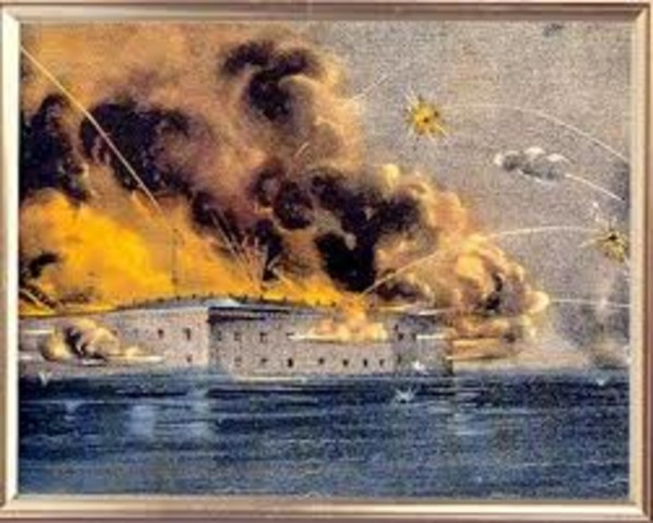 Confederate forces bombard Fort Sumte