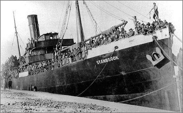 exilio de 450 mil personas que cruzaron la frontera hasta francia