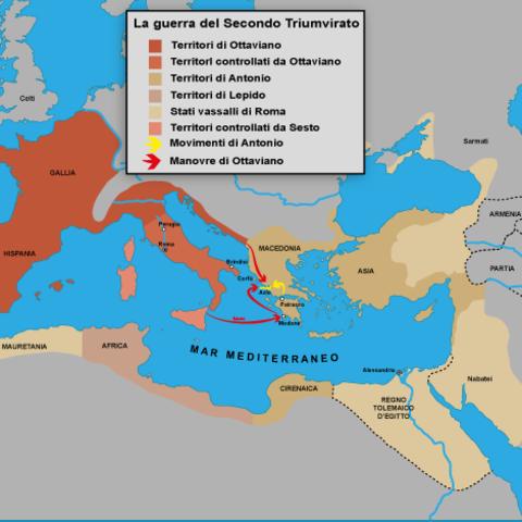 Ottaviano, Lepido e Pompeo si dividono le sfere di influenza