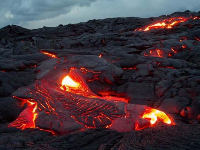 Expansión de la lava volcánica