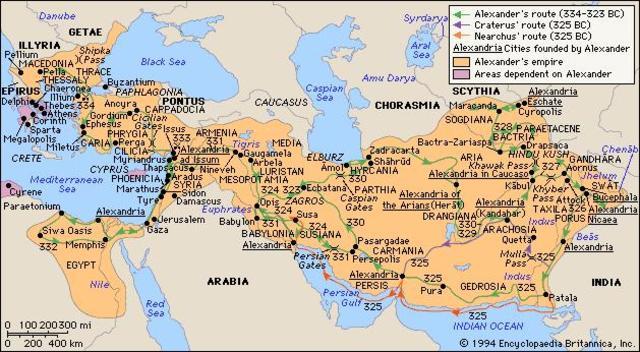Alexander de Grote begint de verovering van het Perzische rijk