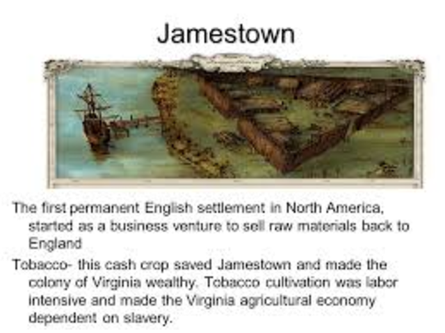 First permanent English settlement in North America is established in Jamestown, Virginia