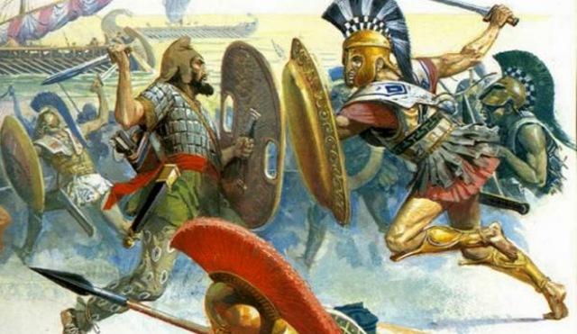 Derrota de los persas en la batalla de Maratón (fin de la primera guerra médica)