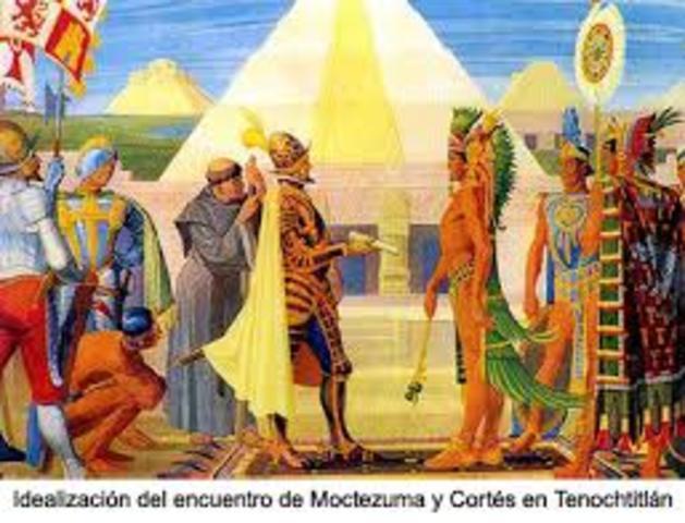 Moctezuma recibe a Hernán Cortés
