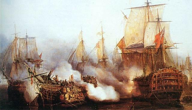 Aliança entre la França napoleònica i l'Espanya borbònica contra Gran Bretanya.Batalla de Trafalgar (1805)