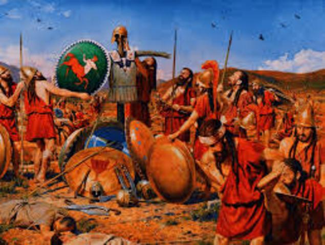 Esparta y Atenas vencen a Tebas en la batalla de Mantilea