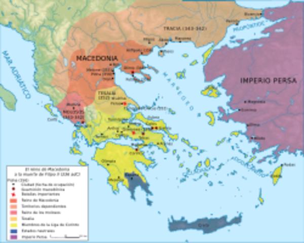 Los estados griegos constituyen la liga Heleníca contra Filipo