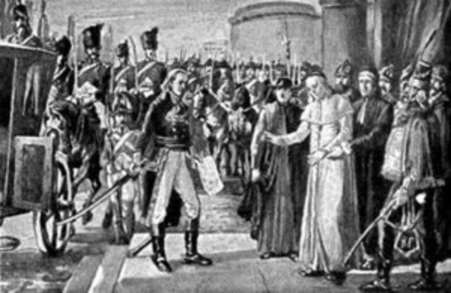 Pío VI prisionero en Francia